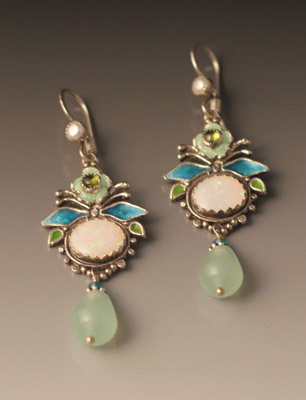 earrings of opal, peridot, pearl, apatite, aqua quartz, and enamel.