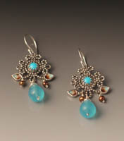 earrings of turquoise, blue quartz, pearl  and enamel.