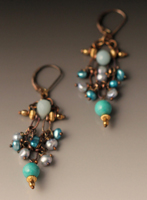 dangling earrings ofopal,turquoise and pearl.