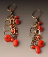 dangle ear with oxidized sterling, 3 shapes of coral.