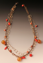 Necklace with carnelian, coral, pearl, sterling 15